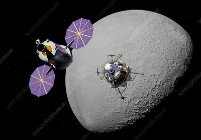Crew exploration vehicle and lunar lander, illustration