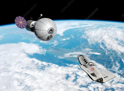 Cruise shuttle near space habitat, illustration