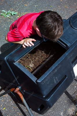 Boy working with compost bins in community garden