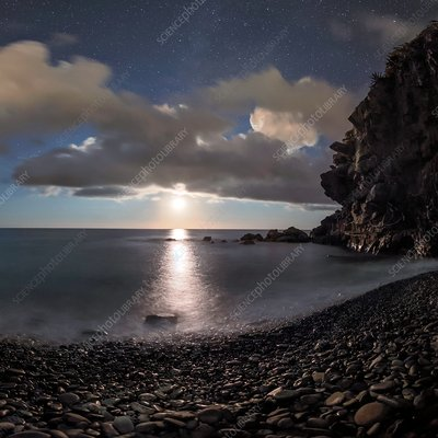 Moonlight on Mediterranean Sea, Italy