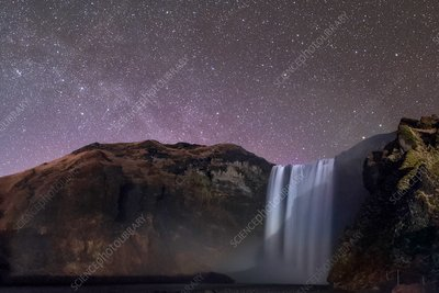 Night sky over Skogafoss waterfall, Iceland
