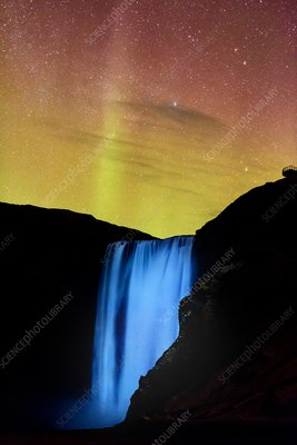 Northern Lights over Skogafoss waterfall, Iceland