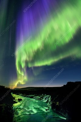 Northern Lights over Hvita river, Iceland