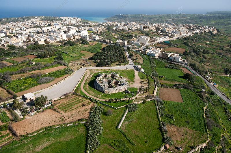 Ggantija temple ruins, Malta, aerial view