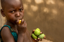 Young boy eating fruit