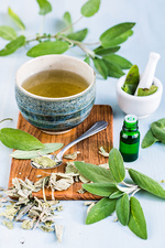 Sage essential oil and tea