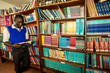 Student in a medical library