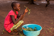 Young girl preparing food