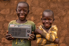 Young boys with a radio