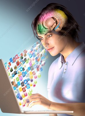 Internet effects on brain, conceptual illustration