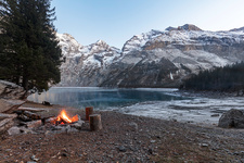 Campfire in the Swiss Alps