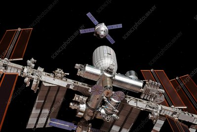 Crew exploration vehicle approaching ISS, illustration