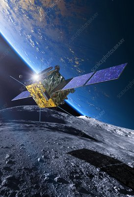 Spacecraft orbiting asteroid approaching Earth, illustration