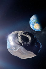 Asteroid deflection using foil, illustration