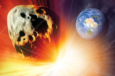 Asteroid deflection using nuclear explosion, illustration