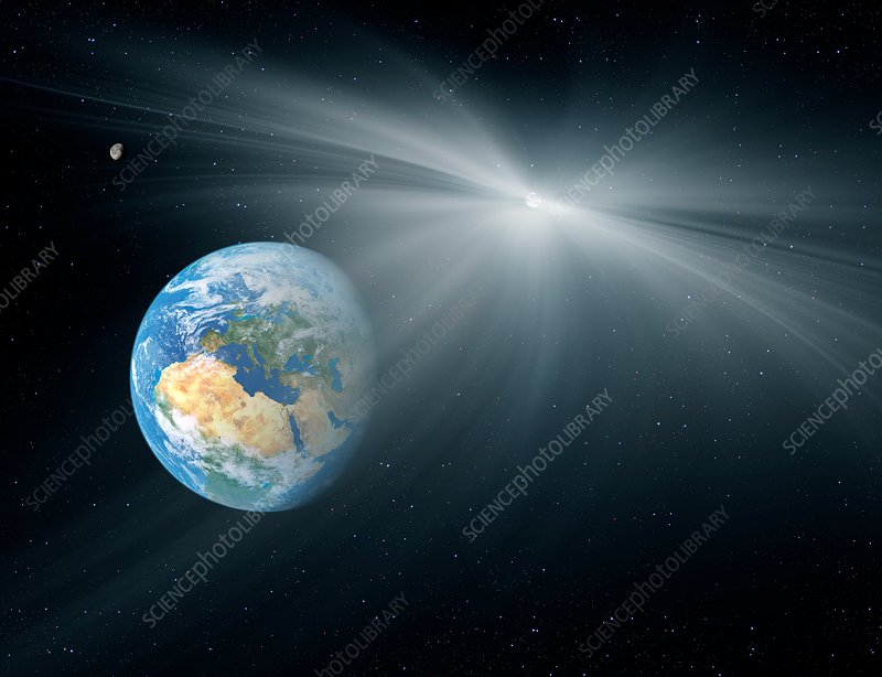 Comet passing near the Earth, illustration