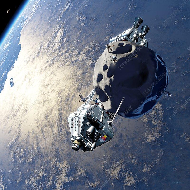 Asteroid mining, illustration