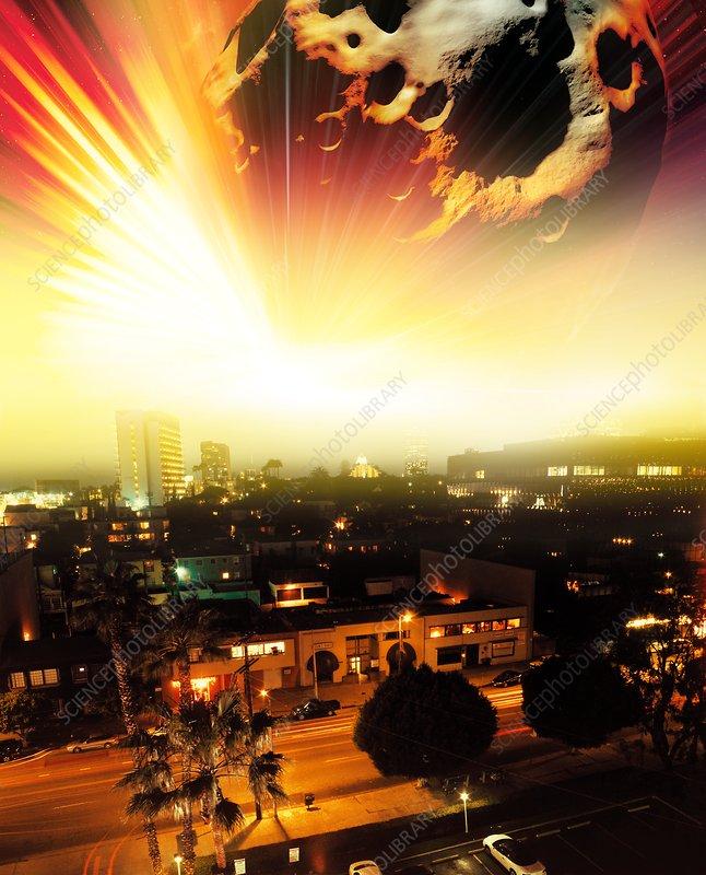 Meteorite fireball over city, artwork