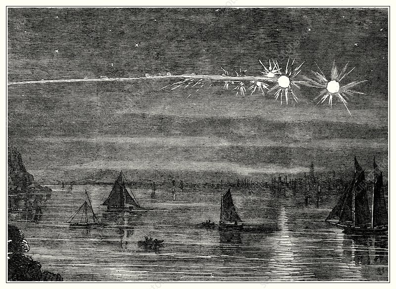 Meteor display over New York, 1860