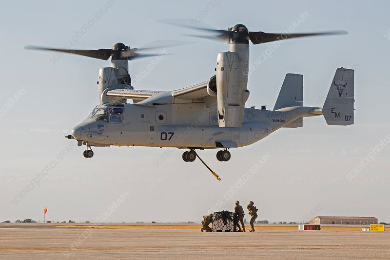 US marines deploying from tiltrotor aircraft