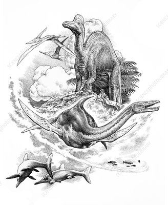 Mesozoic reptiles, illustration