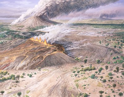 Tertiary volcanic landscape, illustration