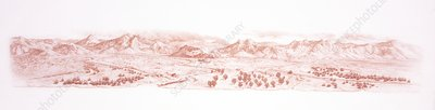 Old Red Sandstone landscape, illustration