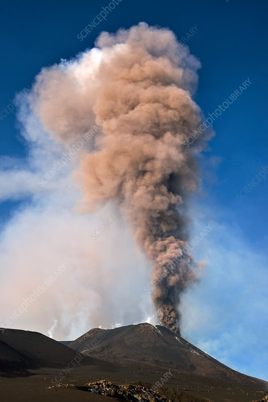 Ash column rising from Mount Etna, December 2015