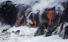 Lava flow entering the sea, Kilauea, Hawaii