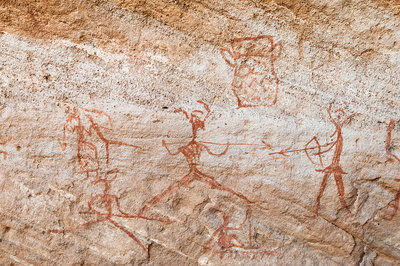 Pictograph of hunters, Libya