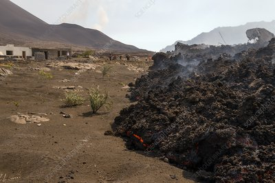 Lava flow advancing on a village, Pico do Fogo