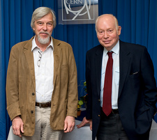 Rolf Heuer and Steven Weinberg at CERN, July 2009