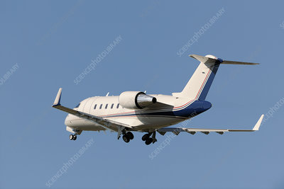 Bombardier Challenger 605 private jet taking off