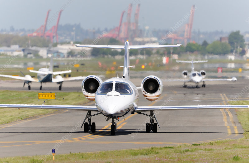 Learjet taxiing