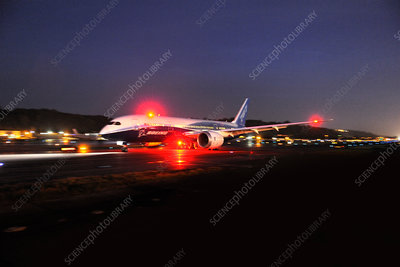 Boeing 787-8 Dreamliner prototype taxiing at night