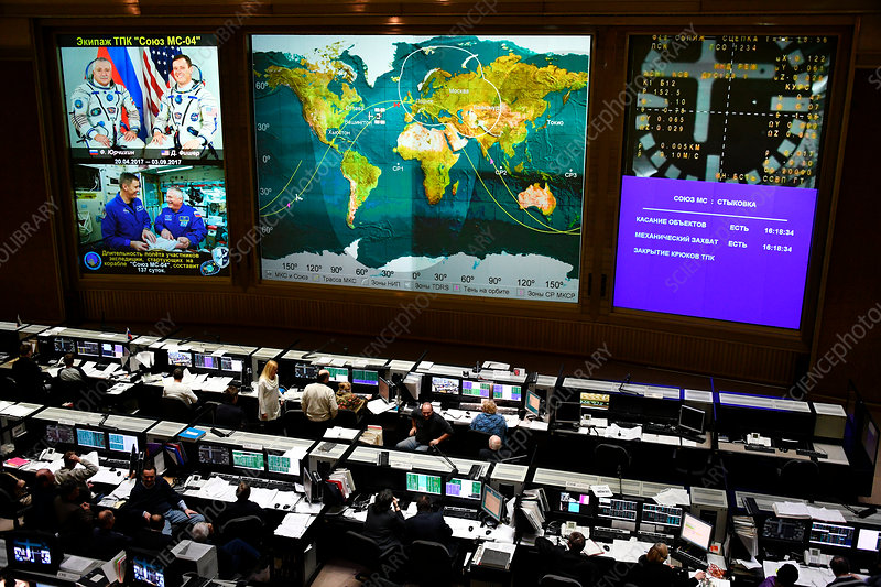 RKA Mission Control Center during Soyuz MS-04