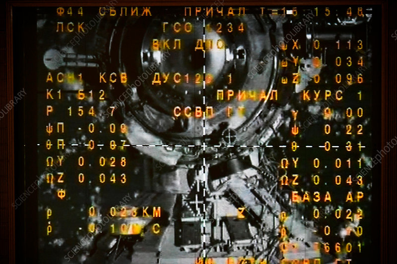 Soyuz-ISS docking, RKA Mission Control Center screen