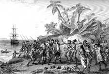 Bougainville in the Marquesas Islands in 1768, illustration