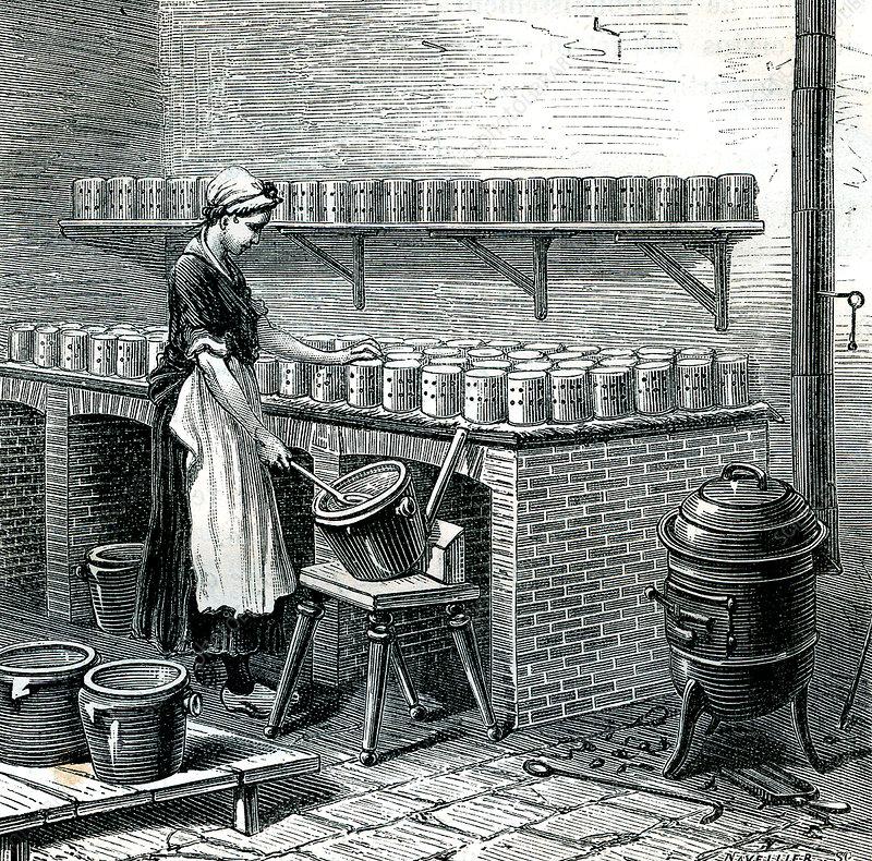 19th Century French camembert maker, illustration