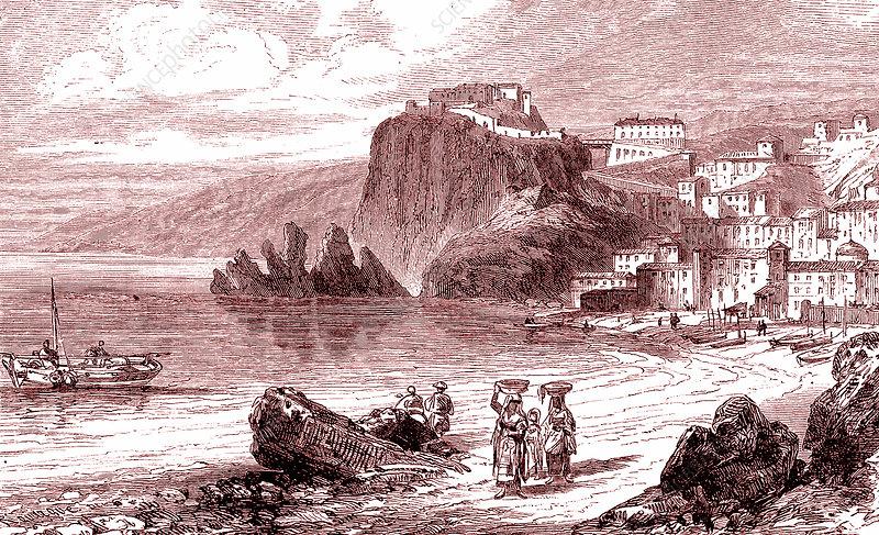 Strait of Messina, Italy, 19th Century illustration