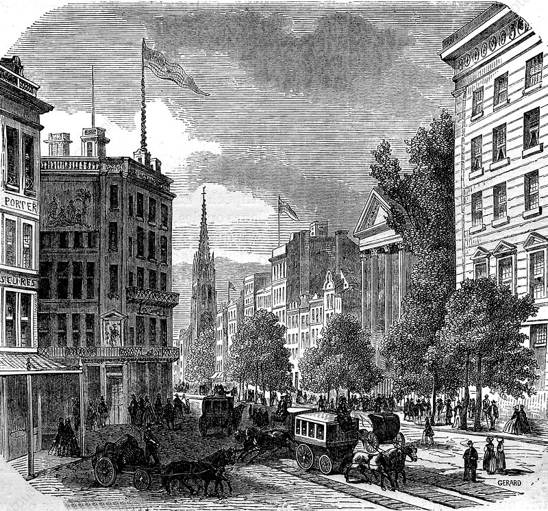 Broadway, New York City, USA, 19th Century illustration