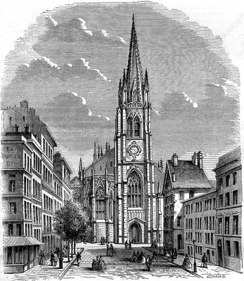 Trinity Church, New York City, USA, 19th C illustration