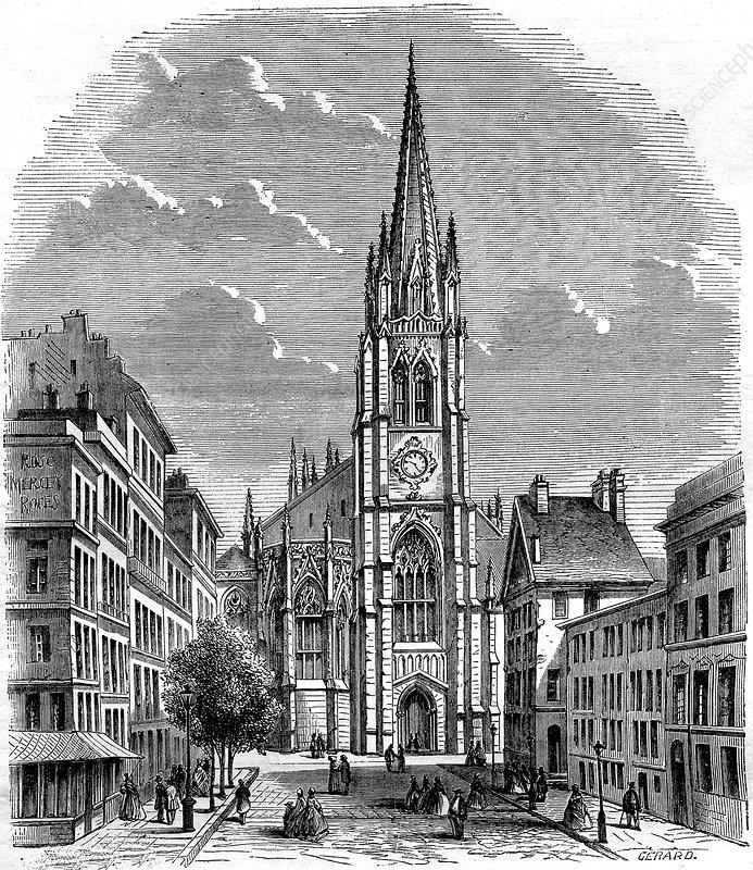 Trinity Church, New York City, USA, 19th C illustration - Stock