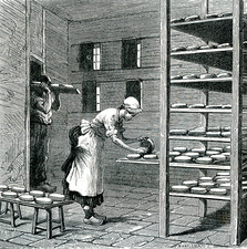 19th Century French camembert maker, illustration