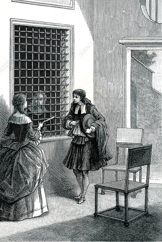 Convent visit, 19th Century illustration
