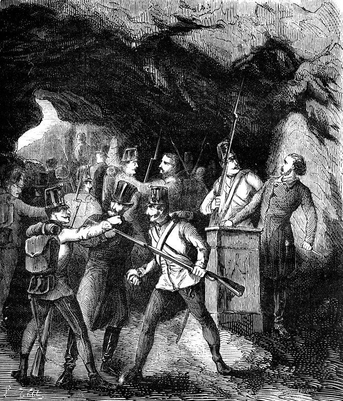 Arrest of the Carbonari, Italy, 19th Century illustration