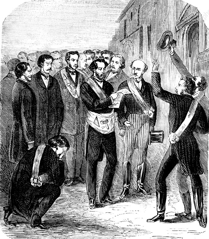 Society of the Friends of Truth meeting, 19th C illustration