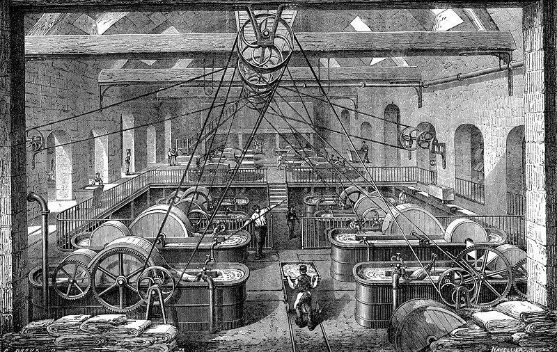 19th Century paper factory, illustration