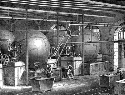 19th Century paper factory, illustration