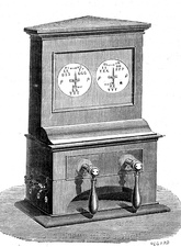 Early electric telegraph machine, 19th Century illustration